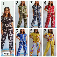 Setelan Baju Tidur Celana Panjang Motif Bali