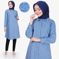 Baju Tunik Atasan Wanita Lengan Panjang Omira Tunik Katun Terbaru - Biru Muda, M