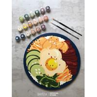 DIY Paint By Number Kit : Bibimbap (Round Canvas)