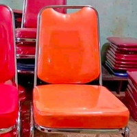 kursi susun besi / kursi acara / bangku susun besi / kursi kantor - Orange