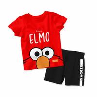Baju Setelan Kaos Anak Kiddys Motif Sablon Elmo Warna Merah [Kds33] - 6-12 Bulan, Celana