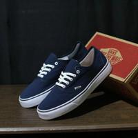 Sepatu Vans Pria Authentic Old skool Bnib Grade ori Hitam Navy maroon - Biru, 39