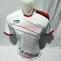 kaos badminton baju badminton atasan olahraga pria wanita volly basket - Putih, M