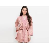 Baju Tidur Wanita Sexy Tanktop Kimono Satin Anne Wintours Pink