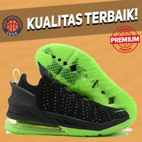 Sepatu Basket Sneakers Nike Lebron 18 Dunkman BLACK GREEN HITAM HIJAU