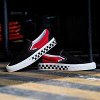 Sepatu Skate Original Vans Slip ON Sidewall Checkerboard Black / Red