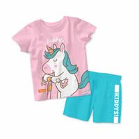 Baju Setelan Kaos Anak Kiddys Motif Sablon Unicorn Warna Pink KDS89