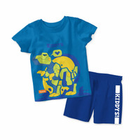 Baju Setelan Kaos Anak Kiddys Motif Robot Dino Warna Biru [KDS84]