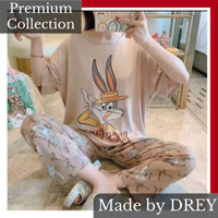 Piyama set perempuan lengan pendek motif / baju tidur lengan pendek - BUNNY 2