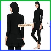 Baju Renang Wanita Muslimah Slimfit Edora ESMLDW List Pita All Black - M