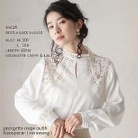 Atasan Baju Blouse Lace Putih Import Lengan Panjang Bc 6401 Bestla - M