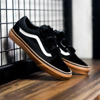 "Sepatu Skate Original Vans Oldskool Velcro Classic "" Black / Gum"