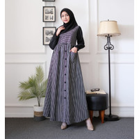 Baju Gamis Dress Katun Jepang Ori Nafa - Hijau, L