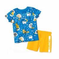 Baju Kaos Anak Kiddys Motif Sablon Kucing Warna Biru KDS57