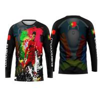 Baju Tshirt Kaos Jersey Dewasa Sepak Bola Portugal Home Euro 2021 01 - S, Lengan panjang