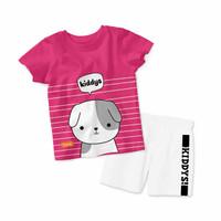 Baju Setelan Kaos Anak Kiddys Motif Sablon Anjing Warna Pink [KDS96]