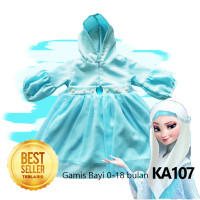 Gamis Baju Muslim Elsa Frozen Perempuan Hijab Bayi 0-18 bulan KA107 - Gamis Elsa, 0-18 bulan
