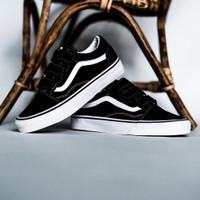 "Sepatu Skate Original Vans Oldskool Velcro Classic "" Black / White"