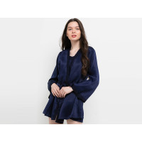 Baju Tidur Wanita Sexy Tanktop Kimono Satin Anne Wintours Navy