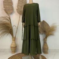 Gamis ceruty polos murah terbaru dress wanita ceruti babydoll - HIJAU ARMY, all size
