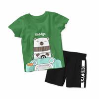 Baju Setelan Kaos Anak Kiddys Motif Sablon Beruang Warna Hijau KDS92 - 6-12 Bulan, Celana