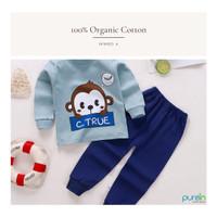 Purein - Baju Kaos Piyama Anak Katun Organik Lengan Panjang Set 2