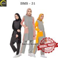 Baju Olah Raga Wanita Muslimah BMS 31 Bahan Katun Original Branded