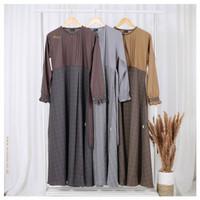 Gamis Dewasa Motif Kotak Mala Square Dress Original by Michan - Khaki, XS