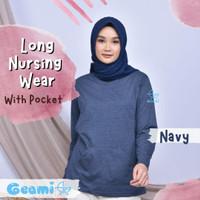 Geami Kaos Ibu Menyusui Baju Busui Nursing Wear Lengan Panjang Saku