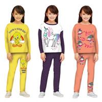 Piyama Anak Perempuan/Baju Tidur Panjang/Setelan Kaos Anak 3-12 tahun
