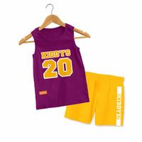 Baju Setelan Kutung Anak Kiddys Motif Sablon Basket Warna Ungu KDS93