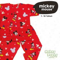 Setelan Baju Tidur Piyama Anak Tanpa Kerah Motif Mickey Mouse