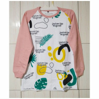 Baju Kaos Cewe Lengan panjang Bahan Cotton 20s original Terbaru - Model J, M