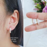 Anting Titanium Wanita Model Berlian Anti Karat Korean style - Emas22k, All Size