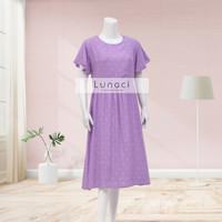 daster Lunaci.co series kina dress - purple polkadot, M