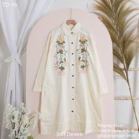 Tunik Bordir Wanita Blouse Baju Kerja Katun Soft Denim PREMIUM 'DORYS' - AD-16 Putih BW