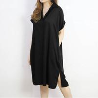 ISF Dress Mora Bahan Moscrepe PREMIUM UK L-XL LD 106-110 CM PJ 120 CM - all size, Hitam
