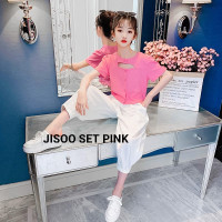 JISOO SET PINK BAJU SETELAN ANAK PEREMPUAN KOREA IMPOR - pink, 130