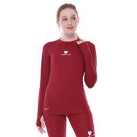 Tiento Baselayer Manset Olahraga Wanita Long Sleeve Maroon Thumbhole