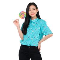 Monellina 50118 Baju Kemeja Atasan XXL Jumbo Lengan Pendek Wanita