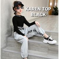 KAREN TOP BLACK BAJU ATASAN CASUAL ANAK PEREMPUAN KOREA - 140