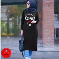 Baju Kaos Tunik Wanita Murah DIVA Babyterry All Size Fit to XL - NG - Hitam, all size
