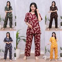 One Set CP Setelan Tyedye Batik Piyama Batik Baju Tidur Dater Cantik