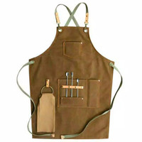 APRON BARBERSHOP Canvas Leather Celemek Barista UNISEX Waiter TERBARU - Cokelat