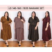 Setelan Jumbo 1839 Nakami Set Rok Bigsize Dress Wanita Big Size Besar