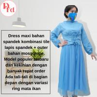 Baju Wanita Terbaru Korea Dress Perempuan Gamis Remaja Syari Kekinian - Biru Muda
