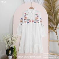 Tunik Bordir Wanita Blouse Baju Kerja Katun Oxford PREMIUM 'ARDEN' - TK-28 Putih
