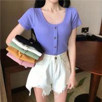 crop top wanita / Kaos wanita Crop - Navy
