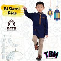 Baju kemeja Koko gamis anak Lengan panjang model baru Al Qarni - Hitam, S