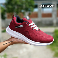 Sepatu Sport Casual Pria Adidas Neo Running Hitam Putih - MAROON, 39